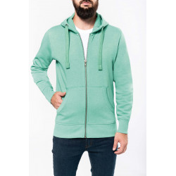 Kariban Men´s melange full zip hooded sweatshirt