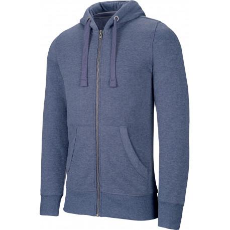 Kariban Men´s melange full zip hooded sweatshirt