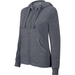 Kariban Ladies´ melange full zip hooded sweatshirt