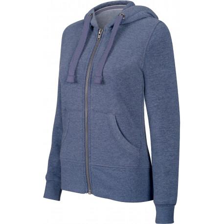 Kariban Ladies´ melange full zip hooded sweatshirt