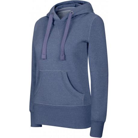 Kariban Ladies� melange hooded sweatshirt